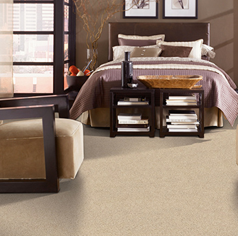 Bedroom scene with beige Alexander Smith carpet